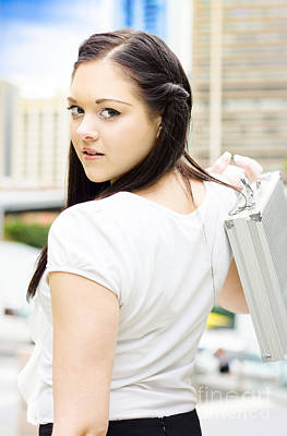Cute Young Busy Business Woman Carrying Briefcase  Print by Jorgo Photography - Wall Art Gallery