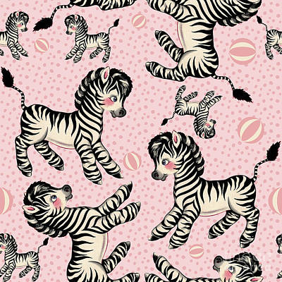 Cute Baby Zebra Pattern Vintage Book Illustration Pattern Print by Tina Lavoie