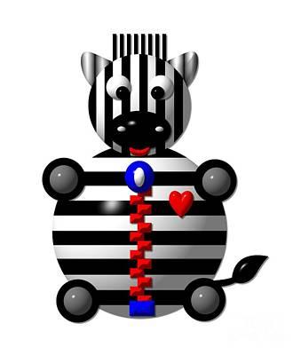 Cute Zebra With A Zipper Print by Rose Santuci-Sofranko