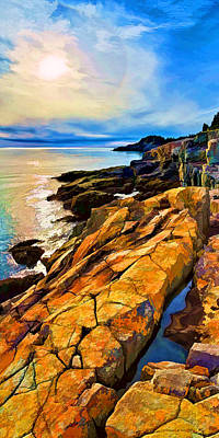 Maine Coast Digital Art - Cutler Coast Lichen by Bill Caldwell -        ABeautifulSky Photography