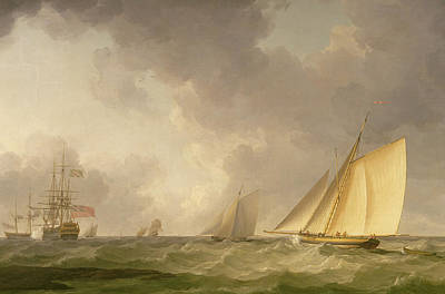 Storm Clouds Painting - Cutter Close Hauled In A Fresh Breeze by Charles Brooking