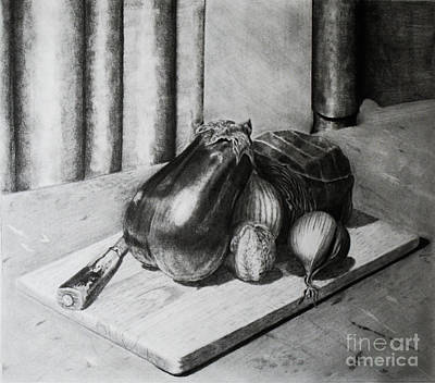 Cabbage Drawing - Cutting Board Still Life by Travis Ricks