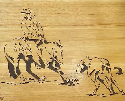 Scroll Saw Sculpture - Cutting Horse by Russell Ellingsworth