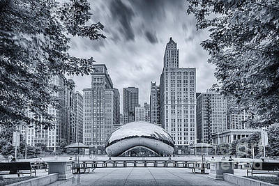 Columbus Drive Photograph - Cyanotype Anish Kapoor Cloud Gate The Bean At Millenium Park - Chicago Illinois by Silvio Ligutti