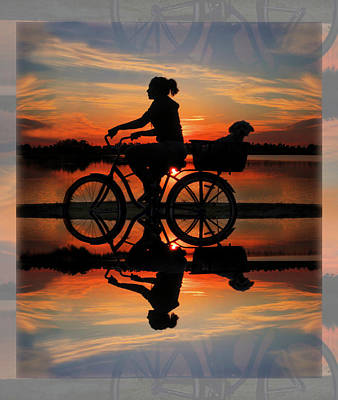 Cycling At Sunset Print by Debra and Dave Vanderlaan