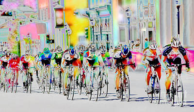 Mexico Digital Art - Cycling Down Main Street Usa by Vicki Pelham