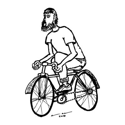 Bike Drawing - Cyclist - Bike Rider by Karl Addison