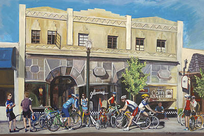 Cyclists At The Roasters Print by Colleen Proppe