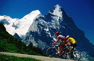 Cyclists In Front Of Eiger And Snow-covered Monch, Grosse Scheidegg, Grindelwald, Bern, Switzerland, Europe Print by David Tomlinson