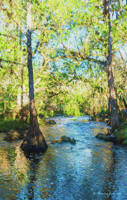 Cypress Trees On The River Print by Marvin Spates