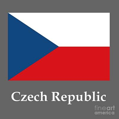 Czech Republic Flag And Name Original by Frederick Holiday