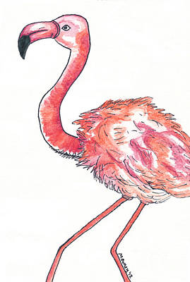 Projects Drawing - Da Flamingo by Michael Mooney