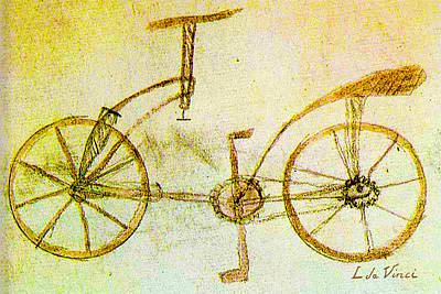 Multi Colored Painting - Da Vinci Inventions First Bicycle Sketch By Da Vinci by Tony Rubino
