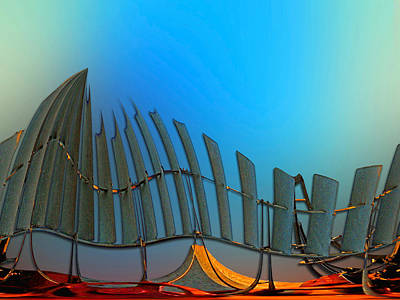 Abstract Windmill Digital Art - Da Vinci's Outpost by Wendy J St Christopher