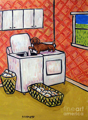 Laundry Painting - Dachshund Doing The Laundry by Jay  Schmetz