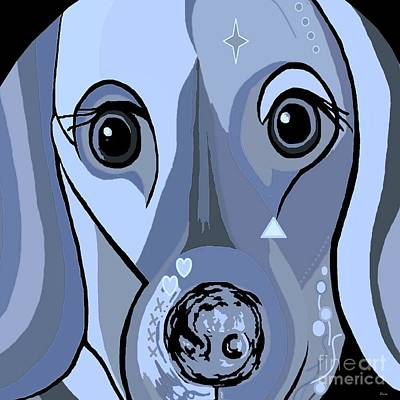 Dachshund Art Digital Art - Dachshund In Blue by Eloise Schneider