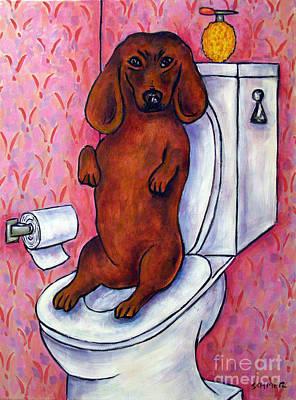Dachshund In The Bathroom Print by Jay  Schmetz