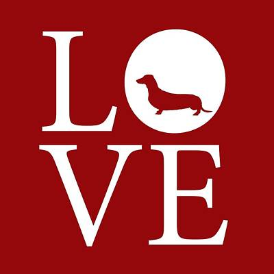 Hot Dog Digital Art - Dachshund Love Red by Nancy Ingersoll