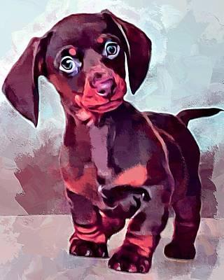 Dachshund Puppy Digital Art - Dachshund Portrait by Scott Wallace