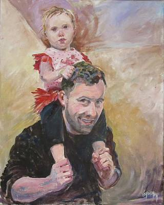 Character Studies Painting - Daddy Ride by Linda Vorderer
