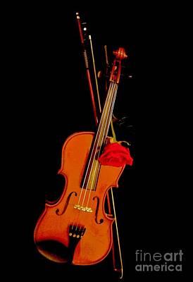 Violin Digital Art - Daddys Violin And A Rose by Marsha Heiken