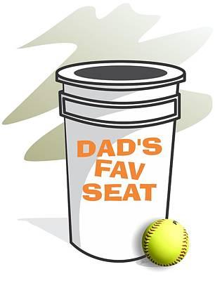 Softball Drawing - Dad's Fav Seat by Jerry Watkins