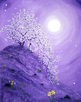 Cherry Blossoms Painting - Daffodil Dawn Meditation by Laura Iverson