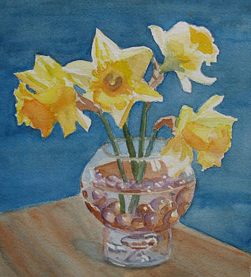 Marble Flower Vases Painting - Daffodils And Marbles by Jenny Armitage