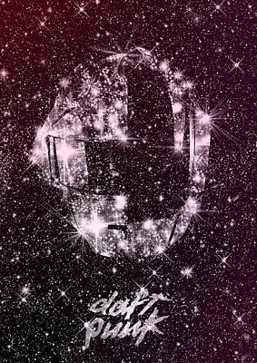 Daft Punk Poster Helmets Print Space Stars Random Access Memories Disco Retro Digital Print Print by Lautstarke Studio
