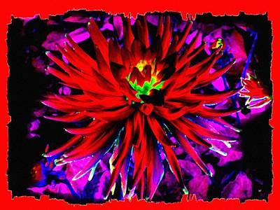 Dahlia Rouge Texture Avec La Frontiere  Print by Will Borden