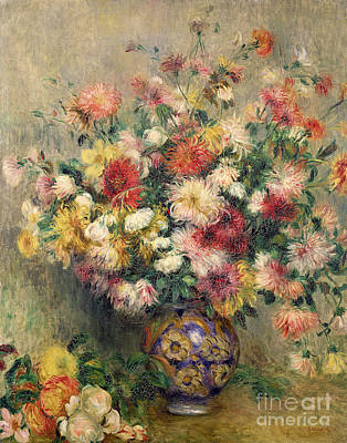 Arrangement Painting - Dahlias by Pierre Auguste Renoir