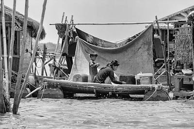 Daily Life On The Tonle Sap Print by Georgia Fowler