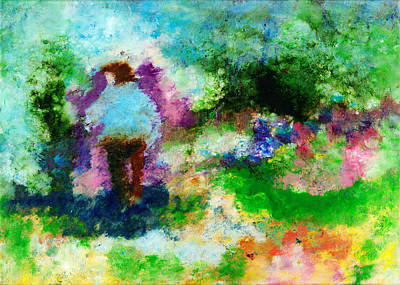 Reverse On Glass Painting - Daily Walk by Janet Gunderson