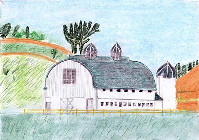 Old Barn Drawing - Dairy Barn by John Hoppy Hopkins