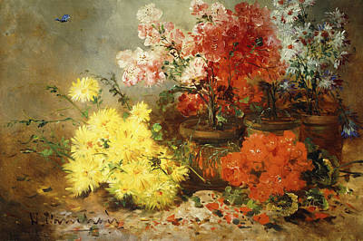Begonia Garden Painting - Daisies, Begonia, And Other Flowers In Pots by Eugene Henri Cauchois