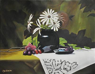 Phil Hopkins Painting - Daisies In Black Vase by Phil Hopkins