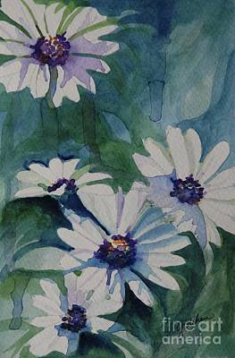 Drippy Painting - Daisies In The Blue by Gretchen Bjornson