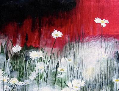 Flower Painting - Daisies by Mary Ellen Frazee
