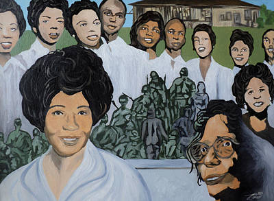Civil Rights Painting - Daisy Bates And The Little Rock Nine Tribute by Angelo Thomas
