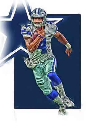 Dallas Mixed Media - Dak Prescott Dallas Cowboys Oil Art Series 1 by Joe Hamilton