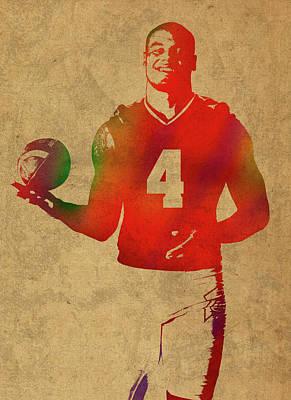 Dallas Mixed Media - Dak Prescott Nfl Dallas Cowboys Quarterback Watercolor Portrait by Design Turnpike