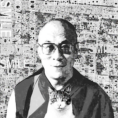 Tibetan Buddhism Mixed Media - Dalai Lama And Cat by Stacey Chiew