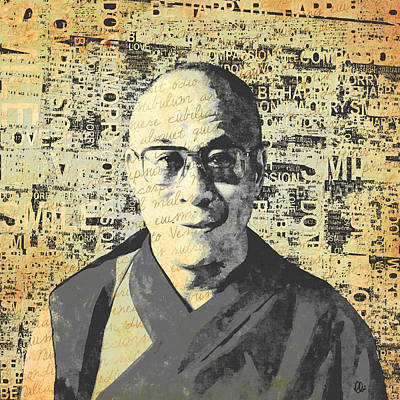 Tibetan Buddhism Mixed Media - Dalai Lama - Retro Vintage by Stacey Chiew