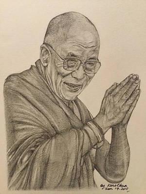 Drawing - Dalai Lama Tenzin Gyatso by Kent Chua