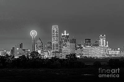 Dallas Skyline Photograph - Dallas After Dark Black And White by Tod and Cynthia Grubbs