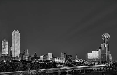 Dallas Black And White Print by Tod and Cynthia Grubbs