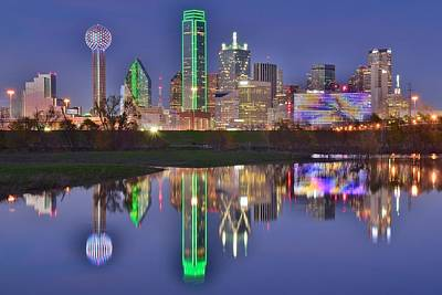 Dallas Skyline Photograph - Dallas Blue Hour by Frozen in Time Fine Art Photography