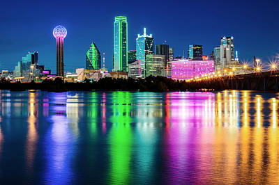Dallas Skyline Photograph - Dallas Candy Skyline by Rospotte Photography
