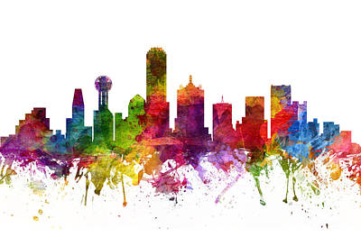 Dallas Skyline Painting - Dallas Cityscape 06 by Aged Pixel