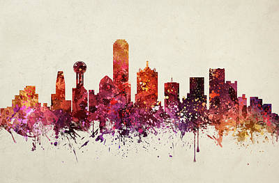 Dallas Skyline Painting - Dallas Cityscape 09 by Aged Pixel